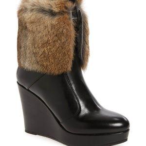 NEW Rudsak Baime Rabbit Fur Trim Boot, Black, Sz 9